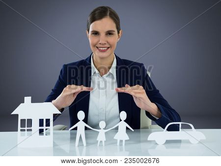 Cut outs of insurance with woman over blue background