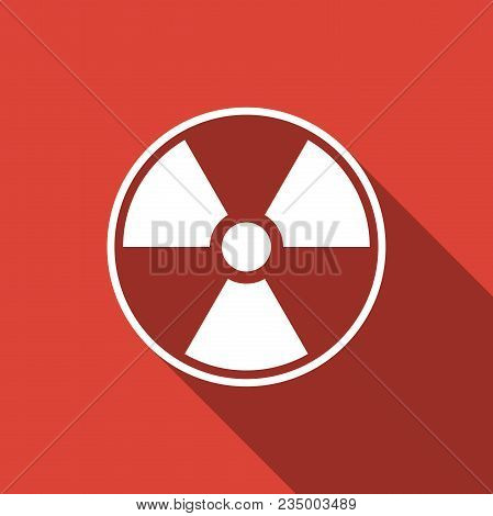 Radioactive Icon Isolated With Long Shadow. Radioactive Toxic Symbol. Radiation Hazard Sign. Flat De