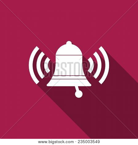 Ringing Bell Icon Isolated With Long Shadow. Alarm Symbol, Service Bell, Handbell Sign, Notification