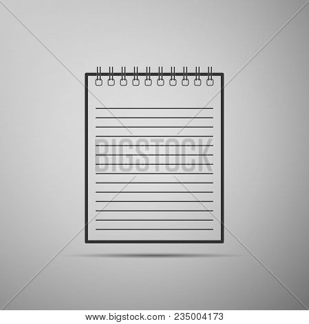 Notebook Icon Isolated On Grey Background. Spiral Notepad Icon. School Notebook. Writing Pad. Diary