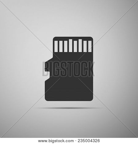 Micro Sd Memory Card Icon Isolated On Grey Background. Flat Design. Vector Illustration