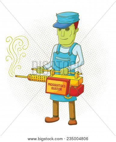 Illustration Of A Mosquitoes Buster Holding His Machine
