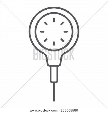 Scuba Diving Gauge Thin Line Icon, Diving And Underwater, Measure Sign Vector Graphics, A Linear Pat