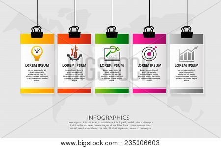 Modern Vector Illustration. Infographic Pattern On Suspended Sheet Of Paper. 3D Style With Five Step