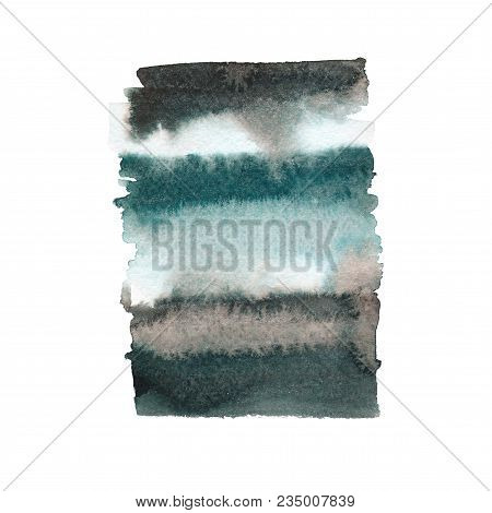 Hand Drawn Watercolor Shape. Green And Black Colour. Watercolor Abstract Background With Gradients.
