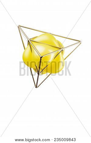 Golden Triangular Pyramid With A Yellow Balloon
