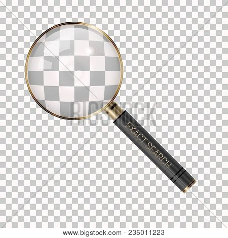 Vector Magnifier On A Transparent Background. Magnifying Glass Icon. Loupe As Exact Search Symbol. G