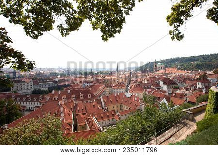 View On The Red Roofs From The Observation Place In Old Town In Prague In Summer