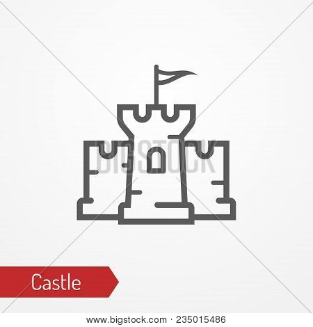 Abstract Medieval Castle With Tower, Walls And Flag. Isolated Icon In Silhouette Style. Typical Medi
