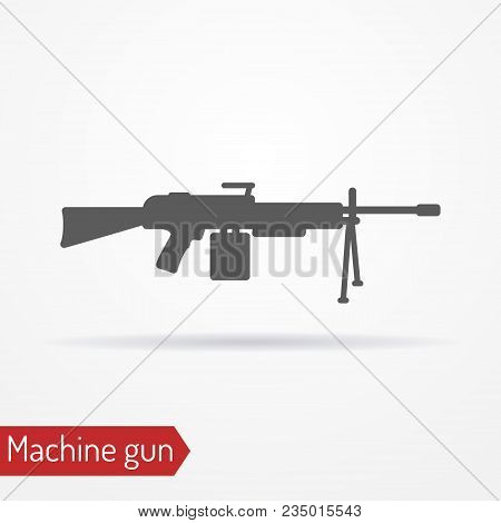 Abstract Assault Machine Gun. Isolated Icon In Silhouette Style With Shadow. Typical Army Large-cali