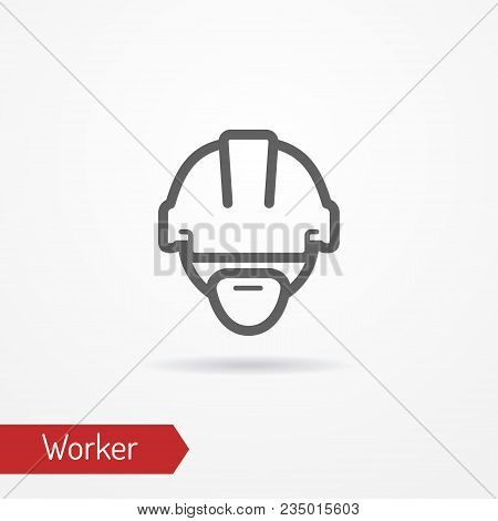 Typical Simplistic Worker Face In Professional Helmet. Warehouse Worker Or Builder Head Isolated Ico