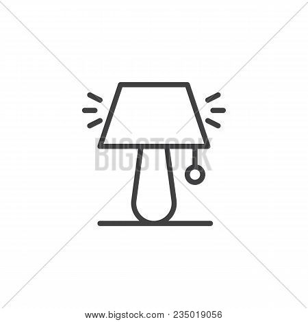 Night Lamp Outline Icon. Linear Style Sign For Mobile Concept And Web Design. Desktop Lamp Simple Li