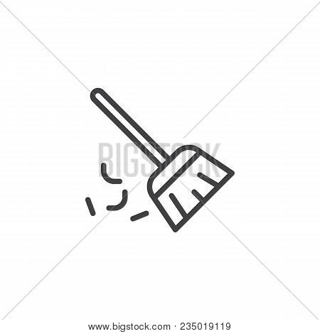 Sweeping Broom Outline Icon. Linear Style Sign For Mobile Concept And Web Design. Besom Simple Line