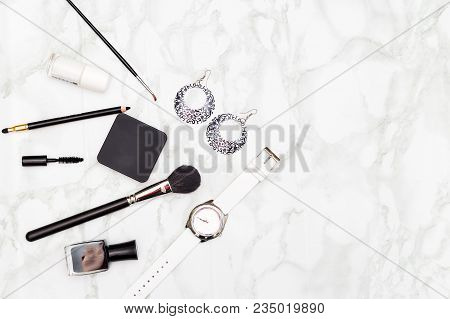 Accessories Black And White Color On Marble Background. Copy Space