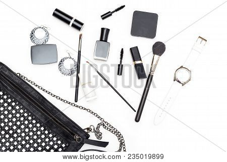 Accessories Black And White Set On White Background. Flat Lay