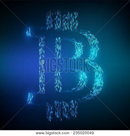 Bitcoin. Binary Code. Block Chain Concept. 3d Isometric Glowing Bitcoin Symbol Formed By Binary Digi