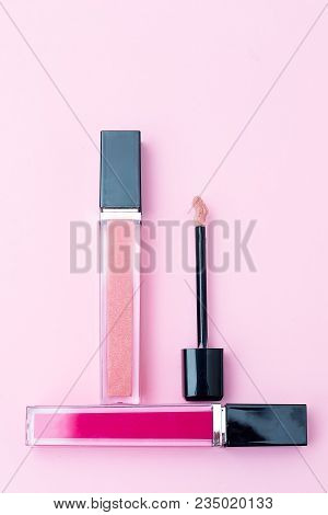 Cosmetics For Make-up On A Pink Background. Geometric Style