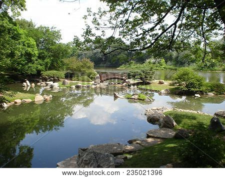 Japanese Garden And Footbridge On The Wooden Island, Jackson Park, Chicago In Summer
