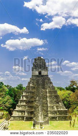 View On Maya Pyramid By Tikal In Guatemala