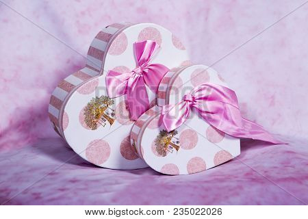 Pink, Gift Box, Heart, Flower, Delicacy, Beauty