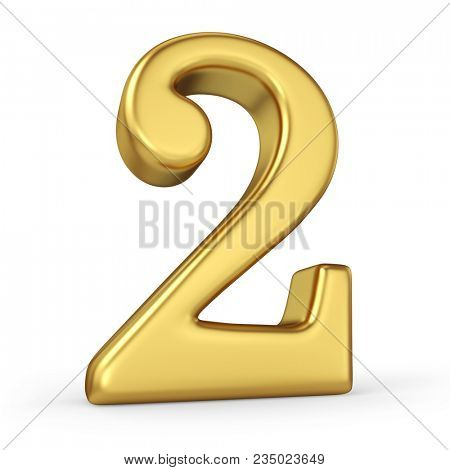 Gold Number 2 Isolated on White Background. Figure Two. 3D Illustration. Golden Alphabet Collection.