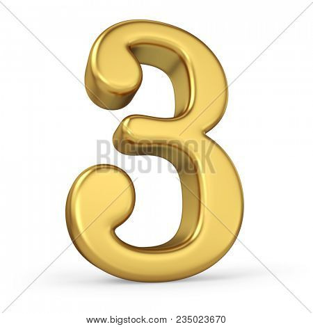 Gold Number 3 Isolated on White Background. Figure Three. 3D Illustration. Golden Alphabet Collection.