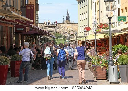Dresden, Germany - April 27, 2012: This Is The Munzgasse Passage Between The Old Houses In The City