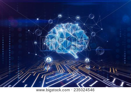 Digital Polygonal Brain Background. Artificial Intelligence And Cyberspace Concept. 3d Rendering