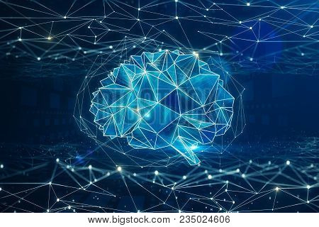 Digital Polygonal Brain Background. Artificial Intelligence And Mind Concept. 3d Rendering