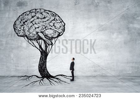 Businessman Looking At Abstract Brain Tree In Concrete Interior. Education, Growth, Brainstorm And S