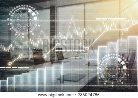 Creative Digital Business Interface On Blurry Meeting Room Interior Background. Conference And Finan