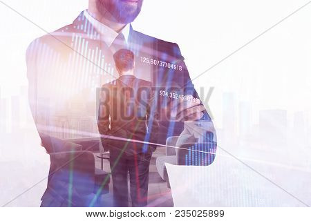 Finance, Broker And Management Concept. Businessman Standing On Abstract Forex City Office Interior