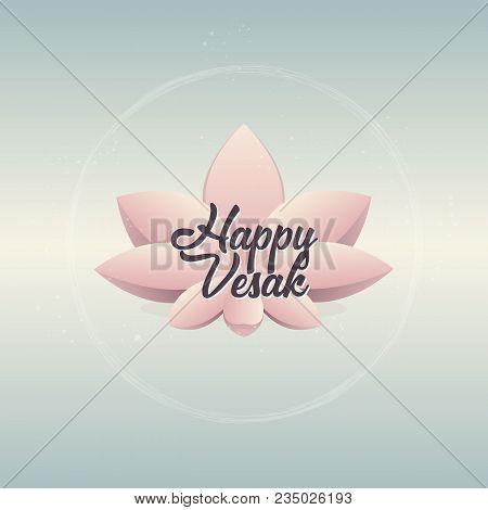 Pink Lotus Flower On Gradient Blue Background. Vector Illustration Greeting Card For Vesak Day.