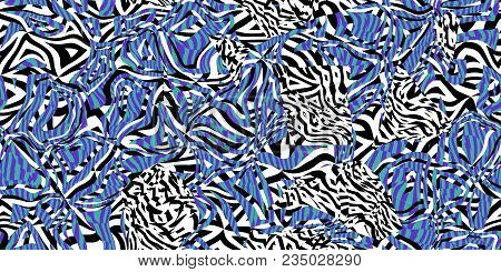 Blue Seamless Prickly Scraps Background. Sharp Angular Shapes On Monochrome Texture. Prickly Contras