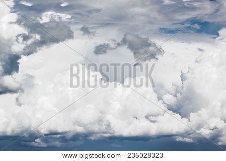 Cumulus clouds in the blue sky closeup poster