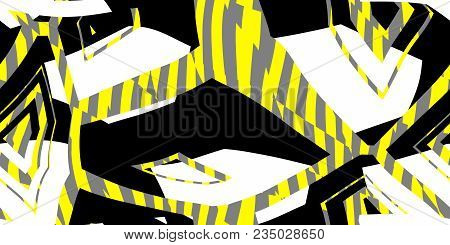 Yellow Seamless Prickly Scraps Background. Sharp Angular Shapes On Monochrome Texture. Prickly Contr