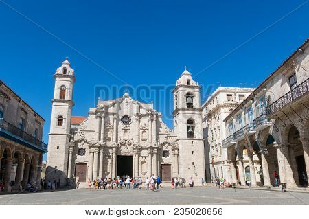 Havana, Cuba - January 16, 2017: Plaza De La Catedral (english: Cathedral Square) Is One Of The Five