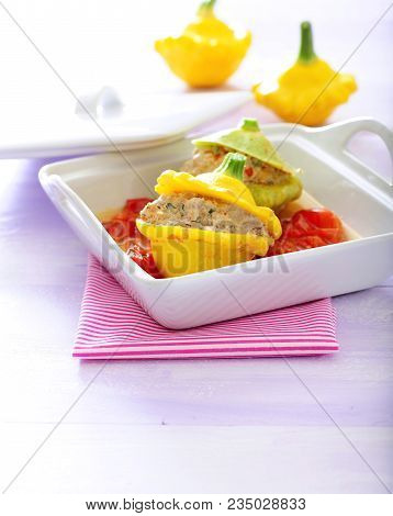 Baked  Pattypan Squash Stuffed With Minced Chicken Meat With Tomato Sauce.