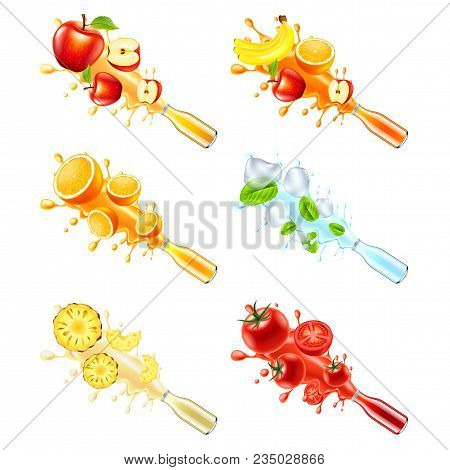 Juice Explosion From Glass Bottle. Apple, Multivitamin, Orange, Mint, Pineapple And Tomato 3d Vector