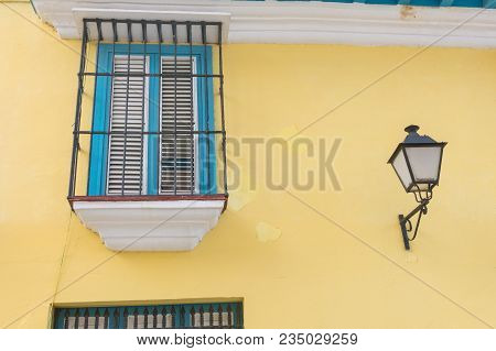 Detail Of A Restored Colonial Building In Old Havana With Typical Caribbean Doors And Balconies. Cub
