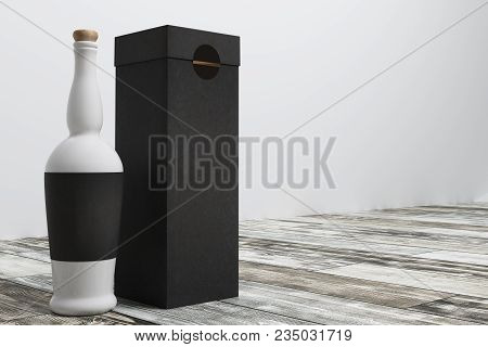 Close up of booze bottle and box with clean label. Advertisement and retail concept. Mock up, 3D Rendering poster