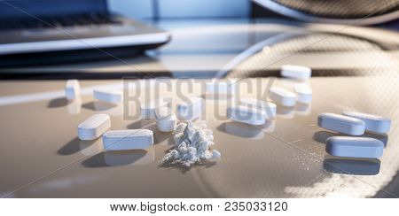 Tablets And A Chemical On The Laboratory Table As A Concept For Investigating Counterfeit In The Med