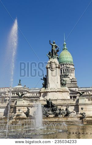 Source And Monumental Complex Of Congress Square. In Buenos Aires, Argentina