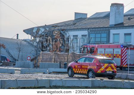 Vordingborg Denmark - April 6. 2018: Damaged Building After Failed Demolition Of A Silo