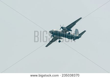 Tyumen, Russia - August 11, 2012: On A Visit At Utair Airshow In Heliport Plehanovo. Flying An-26b O