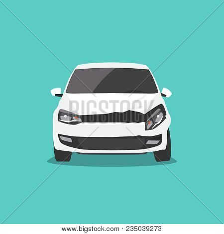 Damaged White Car Front View. Car Accident. Vector Illustration