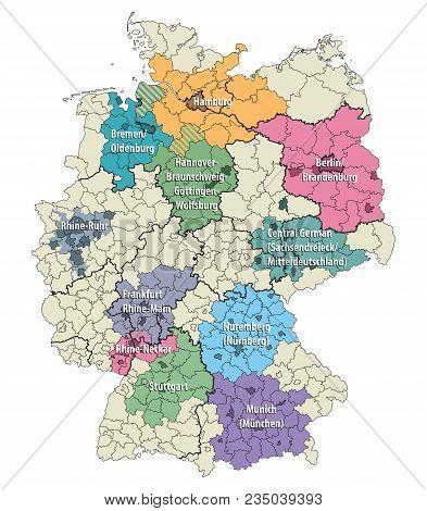 Germany Metropolitan Regions Vector Map Isolated Set