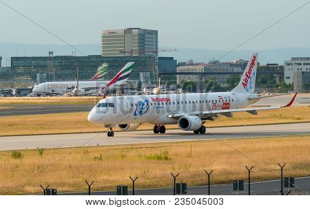 AIRPORT FRANKFURT,GERMANY: JUNE 23, 2017:Embraer E195LR Air Europa Express is a Spanish regional airline.The airline is set to operate regional routes for Air Europa