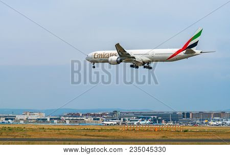 AIRPORT FRANKFURT,GERMANY: JUNE 23, 2017: Boeing 777-300ER Emirate is an airline based in Dubai, United Arab Emirates. It is the largest airline in the Middle East