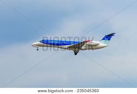 AIRPORT FRANKFURT,GERMANY: JUNE 23, 2017: Embraer ERJ-135 British Midland Regional Limited, a British regional airline that provides regular passenger services throughout the UK and Europe.